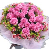AHM538 -Pink roses & carnation spray